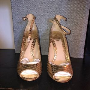 Gold Brian Atwood Ankle Wrap Heels